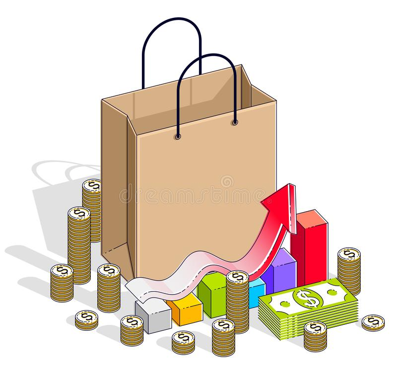 Μεγάλο έννοια πώλησης, λιανική πώληση, Sellout, τσάντα αγορών με τους σωρούς χρημάτων μετρητών και διάγραμμα αύξησης που απομονών ελεύθερη απεικόνιση δικαιώματος