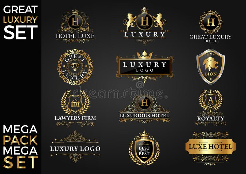 Μεγάλο βασιλικού και κομψού λογότυπων προτύπων διανυσματικό σχέδιο συνόλου πολυτέλειας, στοκ εικόνες με δικαίωμα ελεύθερης χρήσης