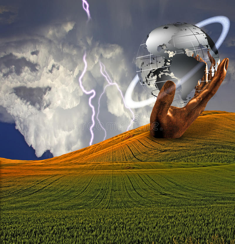 μεγάλο γλυπτό γήινων χεριώ απεικόνιση αποθεμάτων
