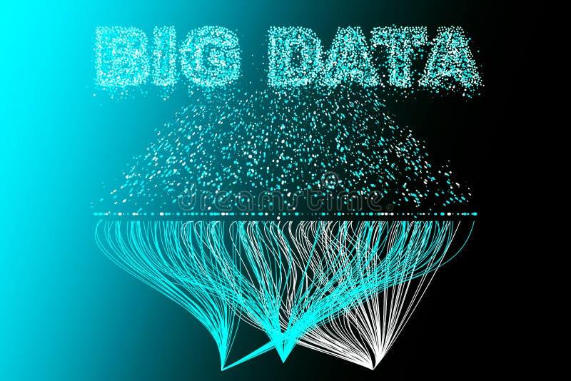 Μεγάλο δίκτυο απεικόνισης στοιχείων Φουτουριστικό infographics, τρισδιάστατο κύμα, εικονική ροή, ψηφιακός ήχος, μουσική Διανυσματ διανυσματική απεικόνιση