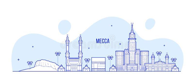 Μεγάλο διάνυσμα πόλεων της Σαουδικής Αραβίας οριζόντων της Μέκκας Makkah διανυσματική απεικόνιση