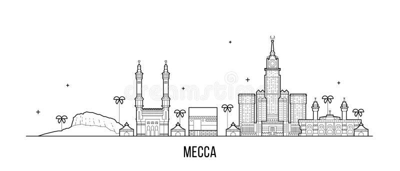 Μεγάλο διάνυσμα πόλεων της Σαουδικής Αραβίας οριζόντων της Μέκκας Makkah απεικόνιση αποθεμάτων