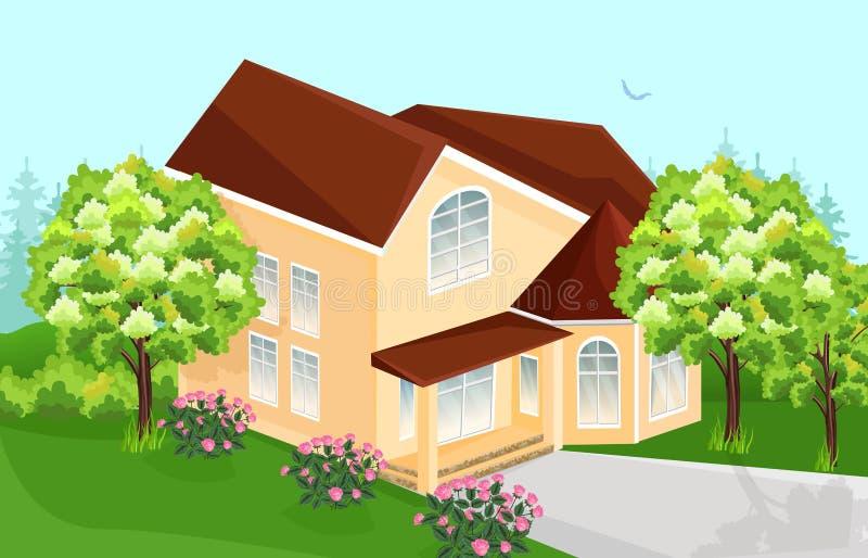 Μεγάλο διάνυσμα σπιτιών Σπίτια αρχιτεκτονικής ακίνητων περιουσιών απεικόνιση αποθεμάτων