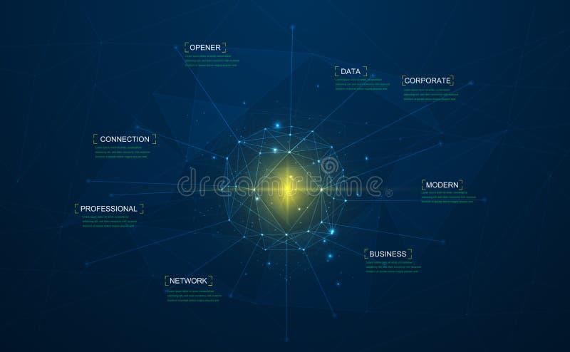 Μεγάλο διανυσματικό σχέδιο έννοιας απεικόνισης στοιχείων Στρογγυλό πλαίσιο στις συνδεδεμένα γραμμές και τα σημεία Ψηφιακές πληροφ ελεύθερη απεικόνιση δικαιώματος
