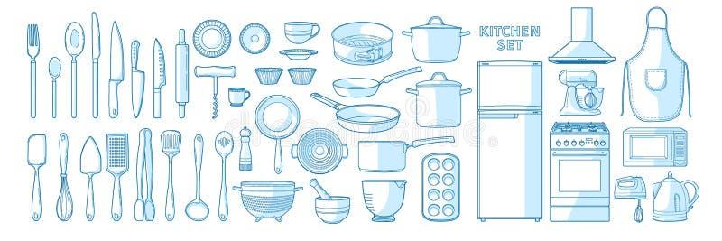 Μεγάλο διανυσματικό σύνολο εργαλείων κουζινών σε ένα γραμμικό ύφος Έν ελεύθερη απεικόνιση δικαιώματος