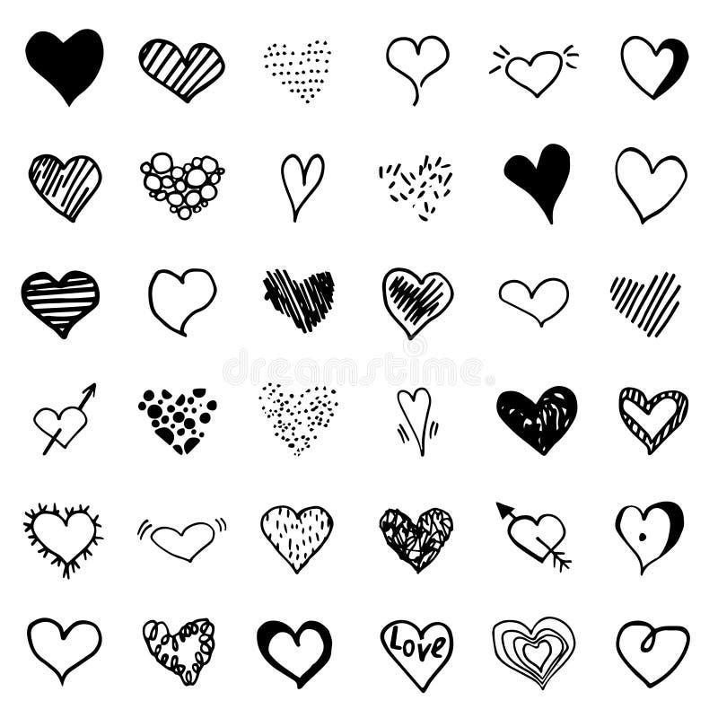 Μεγάλο διανυσματικό σύνολο καρδιών doodle ελεύθερη απεικόνιση δικαιώματος