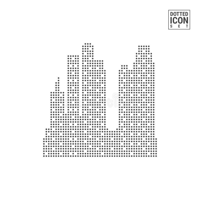 Μεγάλο εικονίδιο σχεδίων σημείων πόλεων Μεγάλο διαστιγμένο πόλη εικονίδιο που απομονώνεται στο άσπρο υπόβαθρο Διανυσματικό εικονί απεικόνιση αποθεμάτων