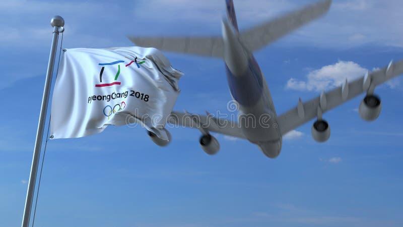 Μεγάλο εμπορικό αεροπλάνο που ταξιδεύει στη Νότια Κορέα πέρα από την κυματίζοντας σημαία με το λογότυπο 2018 χειμερινών Ολυμπιακώ στοκ εικόνες