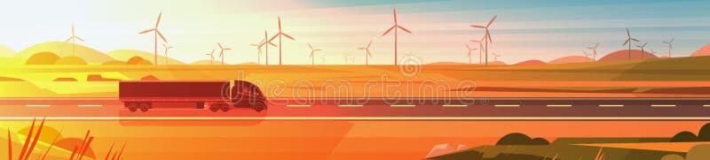 Μεγάλο ημι Drive ρυμουλκών φορτηγών στο δρόμο πέρα από το οριζόντιο έμβλημα τοπίων ηλιοβασιλέματος φύσης απεικόνιση αποθεμάτων