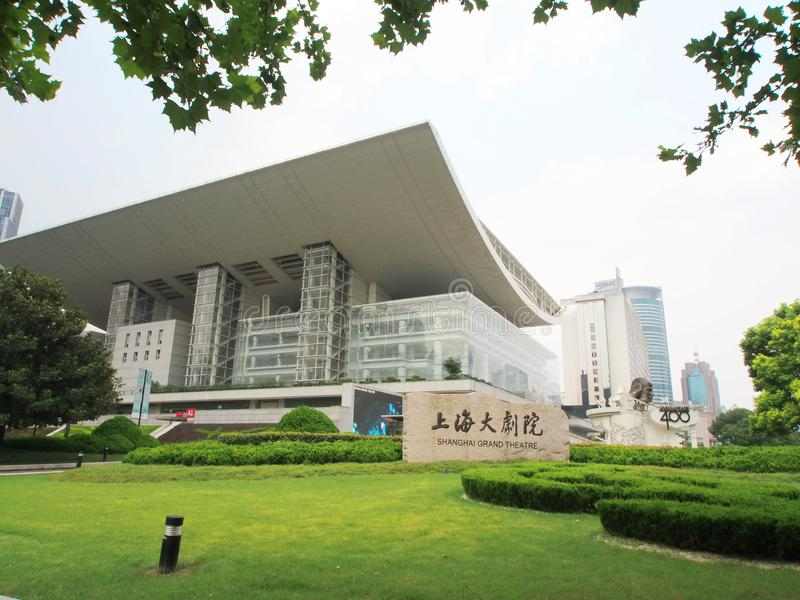 Μεγάλο θέατρο hai Shang, ένα κτήριο ορόσημων το απόγευμα s στοκ εικόνες