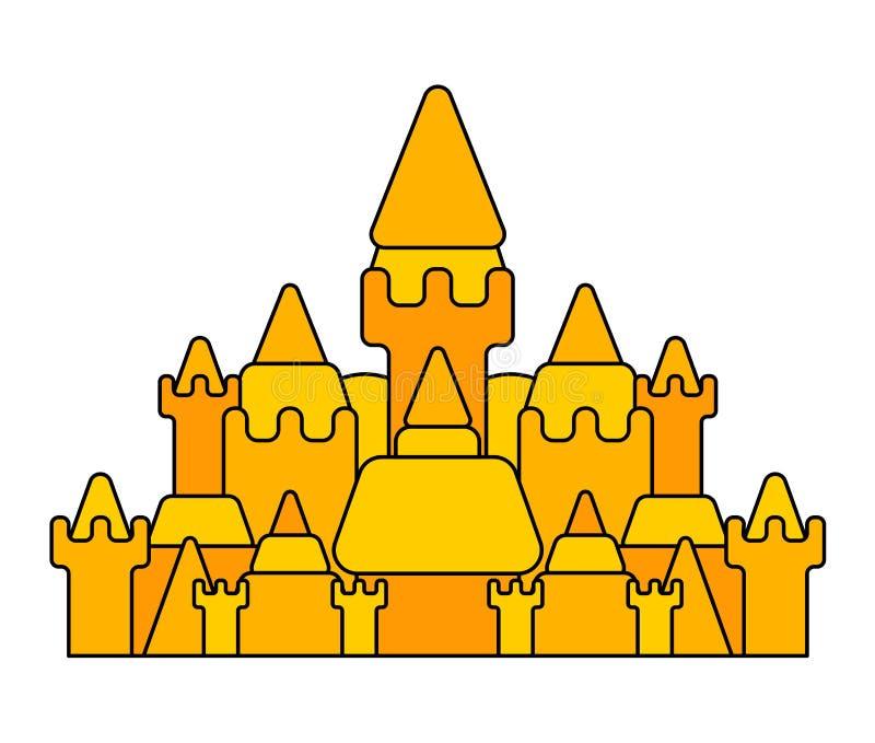 Μεγάλο κάστρο άμμου που απομονώνεται Κτήριο παραλιών επίσης corel σύρετε το διάνυσμα απεικόνισης απεικόνιση αποθεμάτων