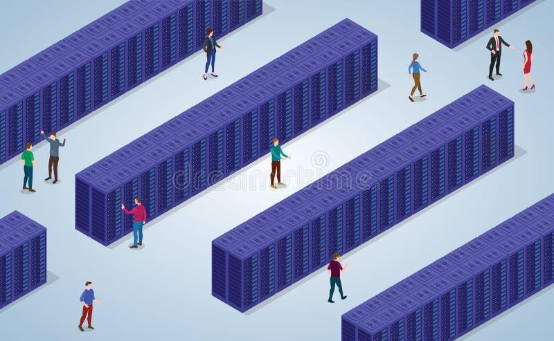 Μεγάλο κέντρο δεδομένων με πολύ φραγμό δωματίων κεντρικών υπολογιστών με τους σύγχρονους isometric επίπεδους ανθρώπους ύφους και  διανυσματική απεικόνιση