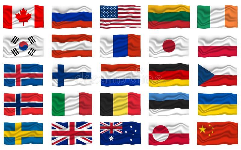 Μεγάλο καθορισμένο εικονίδιο σημαιών Έμβλημα εθνικών σημαιών r απεικόνιση αποθεμάτων