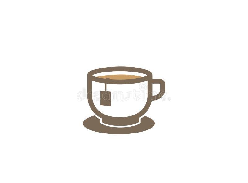 Μεγάλο καυτό φλυτζάνι του θερμού σχεδίου λογότυπων caffee τσαγιού ή καφέδων απεικόνιση αποθεμάτων