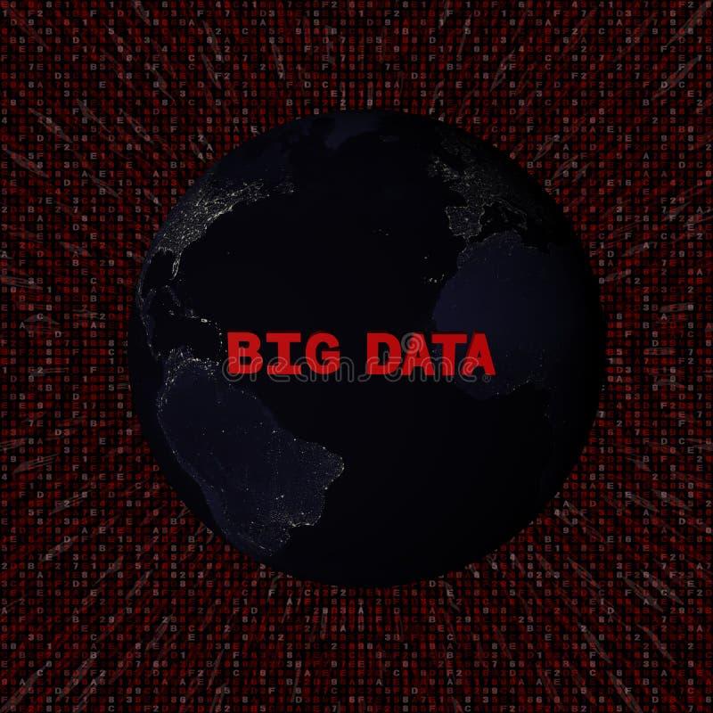 Μεγάλο κείμενο στοιχείων με τη γη τή νύχτα και την κόκκινη απεικόνιση κώδικα δεκαεξαδικού απεικόνιση αποθεμάτων