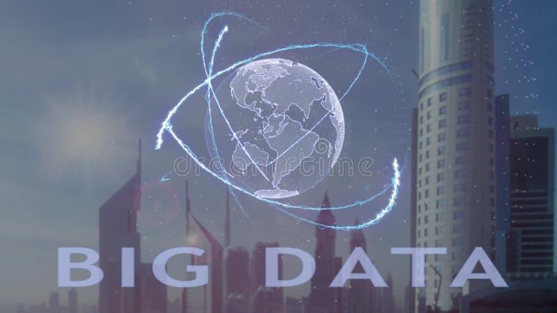 Μεγάλο κείμενο στοιχείων με το τρισδιάστατο ολόγραμμα του πλανήτη Γη ενάντια στο σκηνικό της σύγχρονης μητρόπολης διανυσματική απεικόνιση