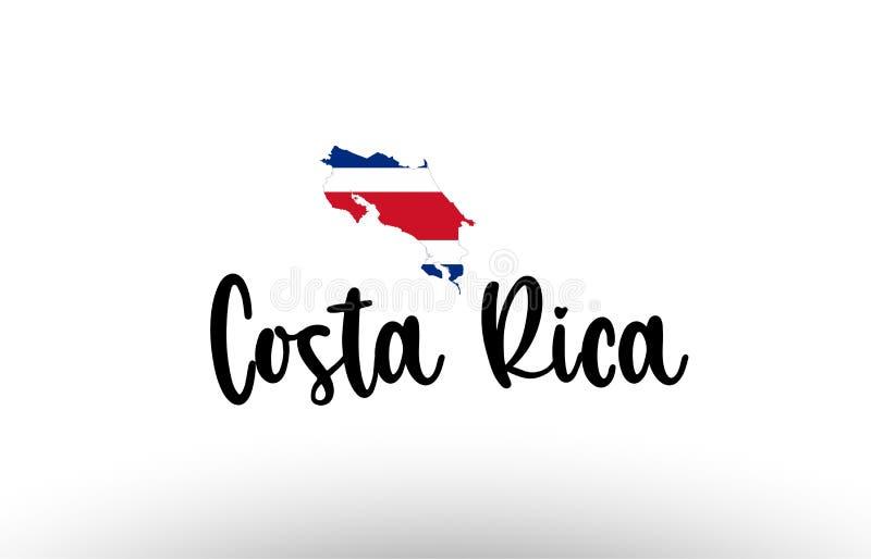 Μεγάλο κείμενο χωρών της Κόστα Ρίκα με τη σημαία μέσα στο λογότυπο έννοιας χαρτών διανυσματική απεικόνιση