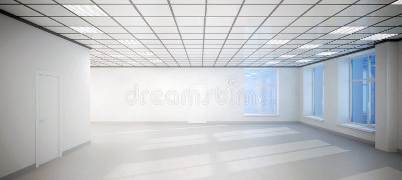 Μεγάλο κενό άσπρο γραφείο δωματίων με τρία Windows ελεύθερη απεικόνιση δικαιώματος