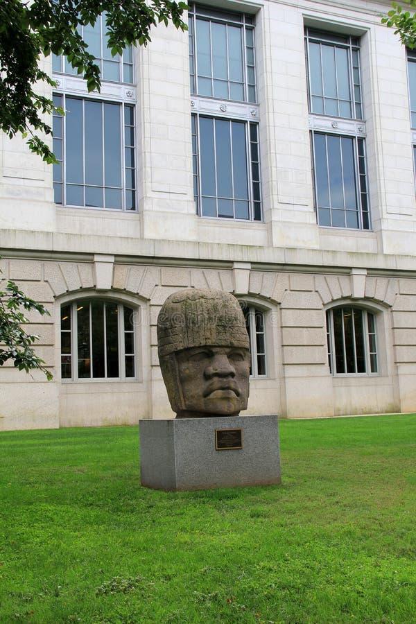 Μεγάλο κολοσσιαίο κεφάλι Olmec πετρών στο βάθρο μπροστά από το μουσείο φυσικής ιστορίας, Ουάσιγκτον, συνεχές ρεύμα, 2017 στοκ φωτογραφία