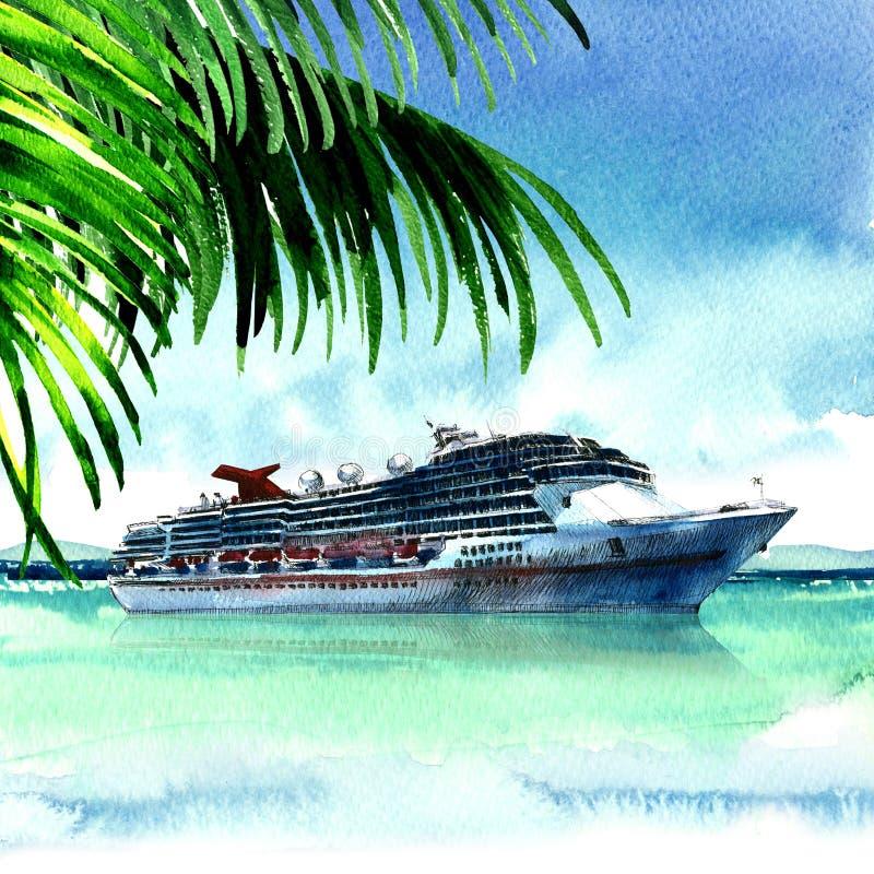 Μεγάλο κρουαζιερόπλοιο πολυτέλειας που πλέει από το λιμένα, άποψη από το εξωτικό τροπικό νησί με το φοίνικα, ταξίδι, πανοραμικό τ ελεύθερη απεικόνιση δικαιώματος