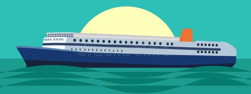 Μεγάλο κρουαζιερόπλοιο στη θάλασσα ή ωκεανός στο ηλιοβασίλεμα ή την ανατολή Διανυσματική απεικόνιση στο επίπεδο ύφος ελεύθερη απεικόνιση δικαιώματος