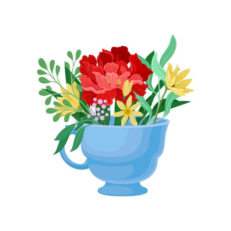 Μεγάλο κόκκινο λουλούδι σε μια κούπα E διανυσματική απεικόνιση
