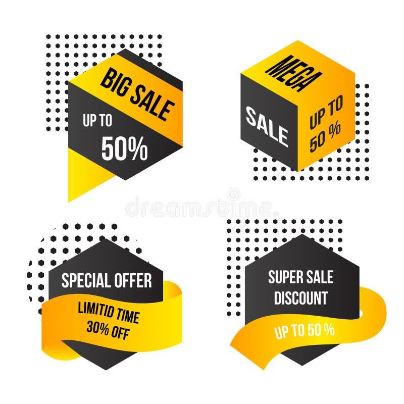 Μεγάλο μέγα έξοχο πρότυπο υποβάθρου εμβλημάτων πώλησης απεικόνιση αποθεμάτων