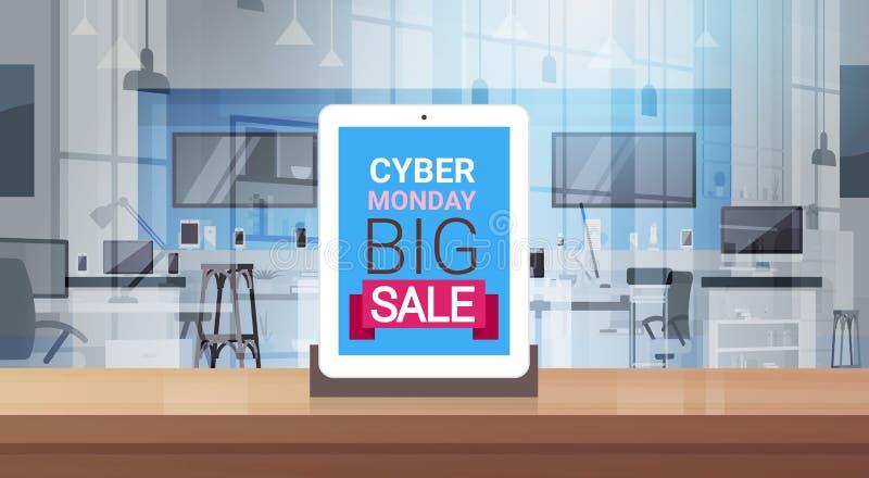Μεγάλο μήνυμα πώλησης Δευτέρας Cyber στην ψηφιακή οθόνη ταμπλετών πέρα από τη σύγχρονη τεχνολογία ελεύθερη απεικόνιση δικαιώματος