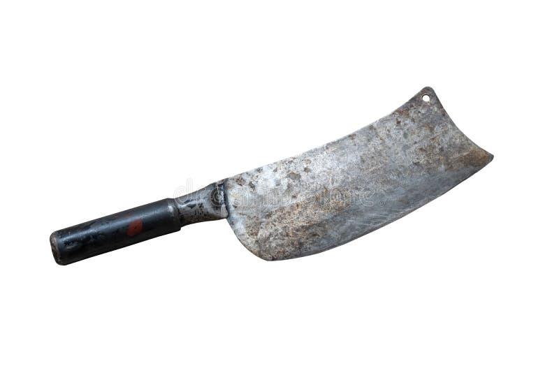 Μεγάλο μαχαίρι σκουριάς που απομονώνεται σε ένα άσπρο υπόβαθρο στοκ φωτογραφίες