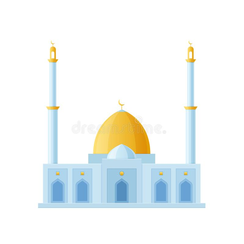 Μεγάλο μουσουλμανικό τέμενος οικοδόμησης Παγκόσμια θέα, αρχιτεκτονικοί χτίζοντας Μουσουλμάνοι διανυσματική απεικόνιση