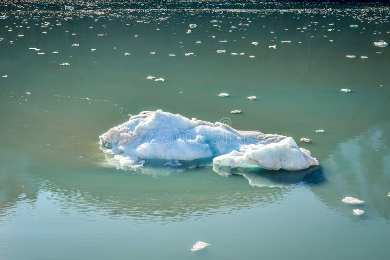 Μεγάλο παγόβουνο και πολλά μικροσκοπικά κομμάτια που επιπλέουν και που λειώνουν μακριά στοκ φωτογραφία