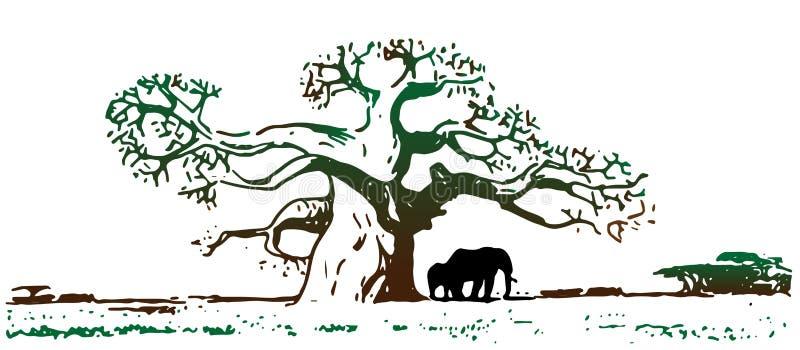 Μεγάλο παλαιό δρύινο δέντρο κάτω από το οποίο μια οικογένεια των ελεφάντων βόσκει απεικόνιση αποθεμάτων