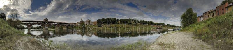 Μεγάλο πανόραμα του ποταμού της Παβία και Ticino στοκ φωτογραφία με δικαίωμα ελεύθερης χρήσης