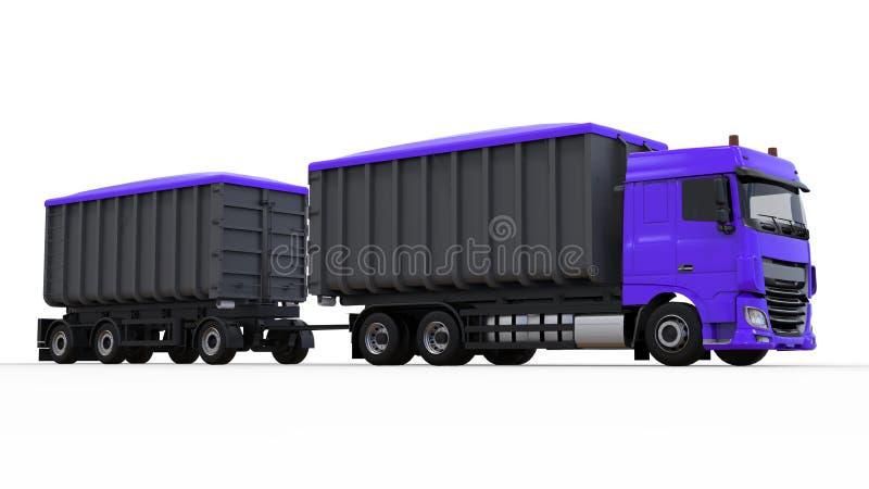 Μεγάλο πορφυρό φορτηγό με το χωριστό ρυμουλκό, για τη μεταφορά των γεωργικών και μαζικών υλικών και των προϊόντων οικοδόμησης τρι στοκ φωτογραφία με δικαίωμα ελεύθερης χρήσης