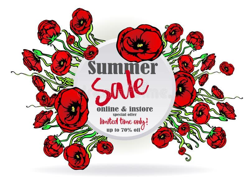 Μεγάλο πρότυπο κύκλων πώλησης flayer για τον Ιστό και τυπωμένη ύλη, άσπρο υπόβαθρο με την κόκκινη και floral ανθοδέσμη διανυσματική απεικόνιση