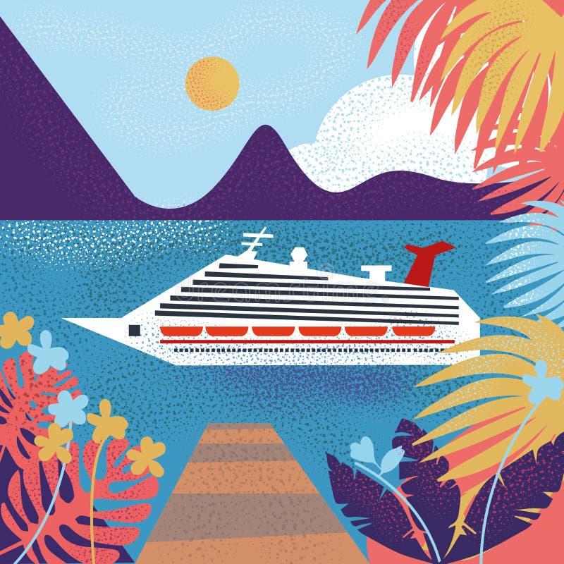 Μεγάλο σκάφος ταξιδιού στη θάλασσα διανυσματική απεικόνιση