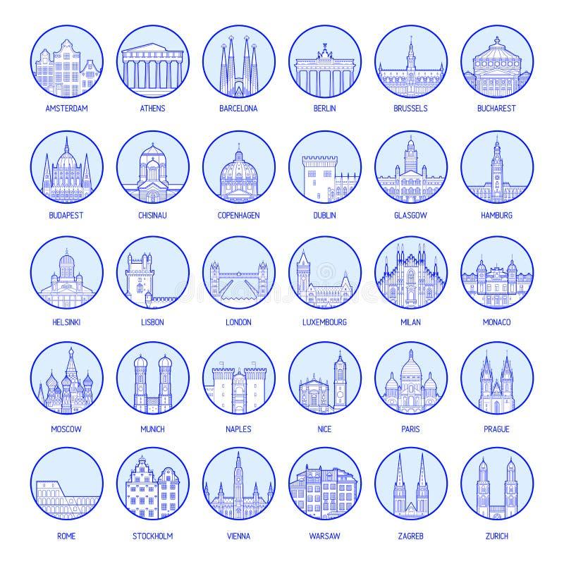 Μεγάλο συλλογής διάνυσμα πόλεων διακριτικών ευρωπαϊκό ελεύθερη απεικόνιση δικαιώματος