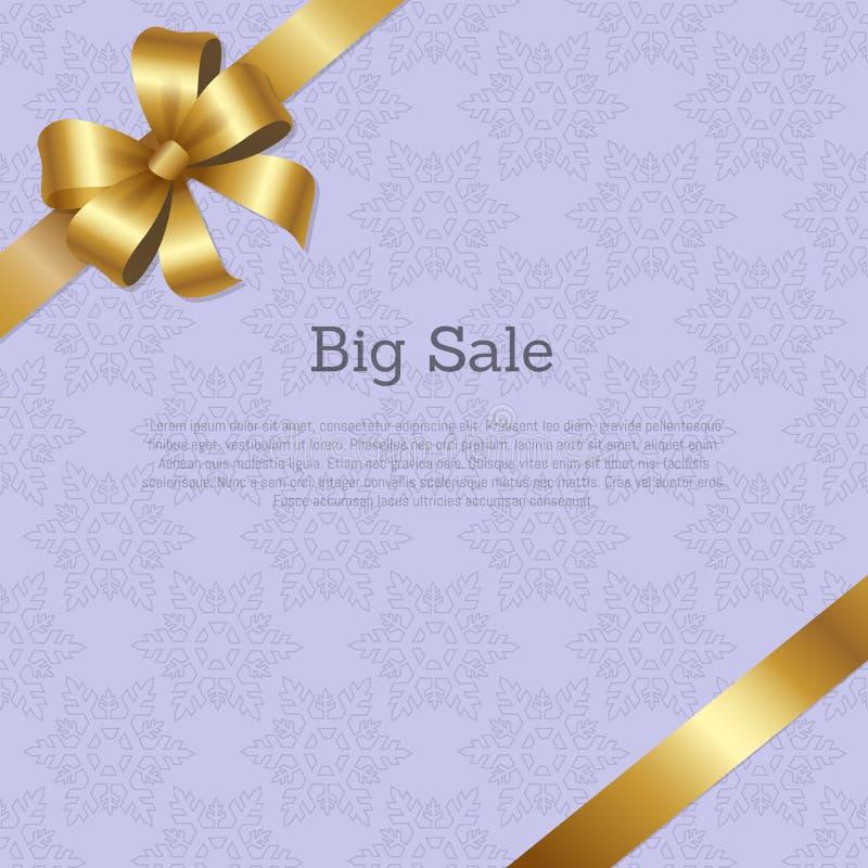 Μεγάλο σχέδιο κάλυψης πώλησης με το χρυσό τόξο στην κορδέλλα ελεύθερη απεικόνιση δικαιώματος