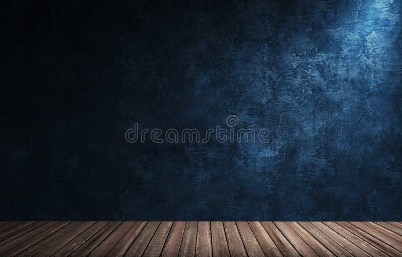 Μεγάλο σύγχρονο δωμάτιο με τον μπλε τοίχο ασβεστοκονιάματος, το ξύλινους πάτωμα και το πλίνθο στοκ εικόνες