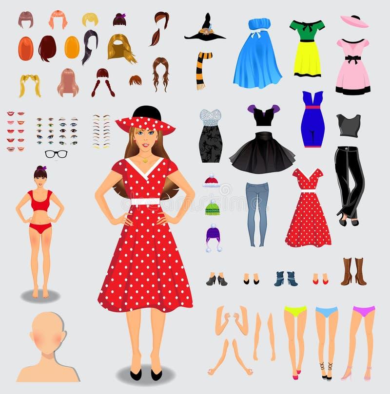 Μεγάλο σύνολο για το μοναδικό θηλυκό χαρακτήρα δημιουργιών Πλήρες σώμα, πόδια, α ελεύθερη απεικόνιση δικαιώματος