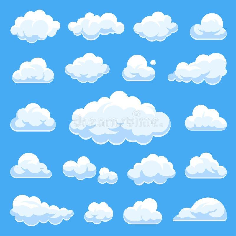 Μεγάλο σύνολο διανυσματικών σύννεφων κινούμενων σχεδίων διανυσματική απεικόνιση