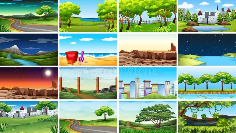 Μεγάλο σύνολο διαφορετικών σκηνών ελεύθερη απεικόνιση δικαιώματος