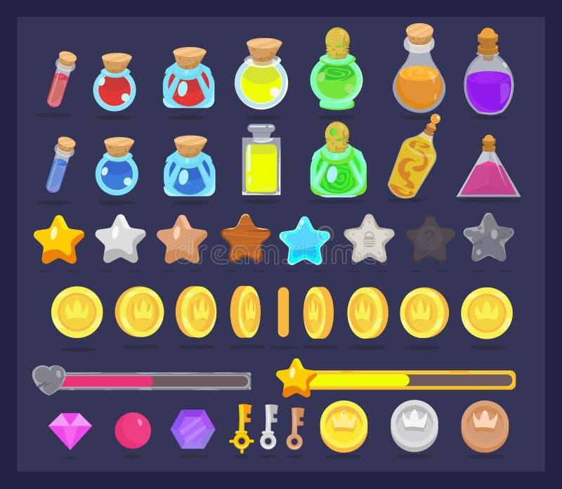 Μεγάλο σύνολο εικονιδίου των πόρων και στοιχείων παιχνιδιών Νομίσματα με το animatio διανυσματική απεικόνιση