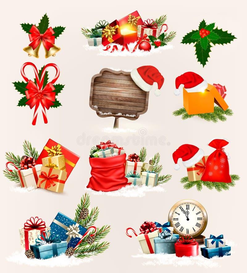 Μεγάλο σύνολο εικονιδίων και αντικειμένων Χριστουγέννων διανυσματική απεικόνιση
