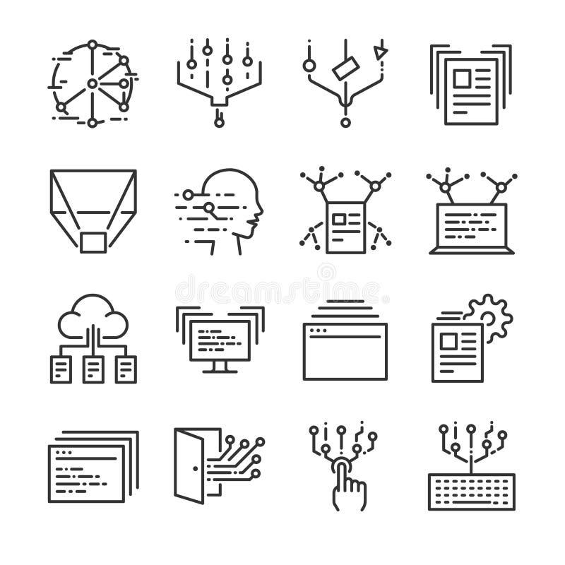 Μεγάλο σύνολο εικονιδίων στοιχείων Περιέλαβε τα εικονίδια ως στοιχεία, σύννεφο, μεταφορά, φίλτρο, ανάλυση, ψηφιακά και περισσότερ ελεύθερη απεικόνιση δικαιώματος
