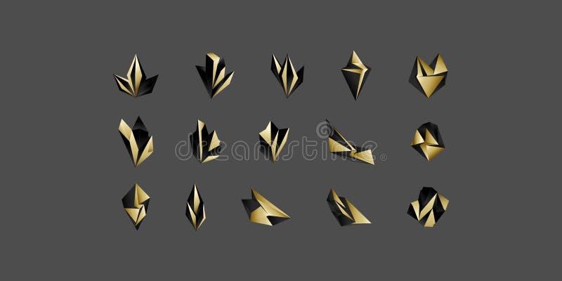 Μεγάλο σύνολο ελάχιστων γεωμετρικών σκοτεινών και χρυσών μορφών Καθιερώνοντα τη μόδα εικονίδια hipster και logotypes Σύμβολα επιχ ελεύθερη απεικόνιση δικαιώματος