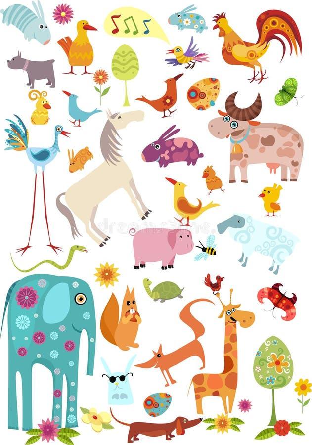 μεγάλο σύνολο ζώων ελεύθερη απεικόνιση δικαιώματος