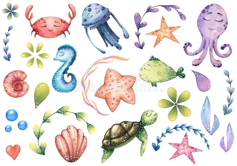 Μεγάλο σύνολο θαλασσίων απεικονίσεων watercolor με τα ζώα θάλασσας ελεύθερη απεικόνιση δικαιώματος