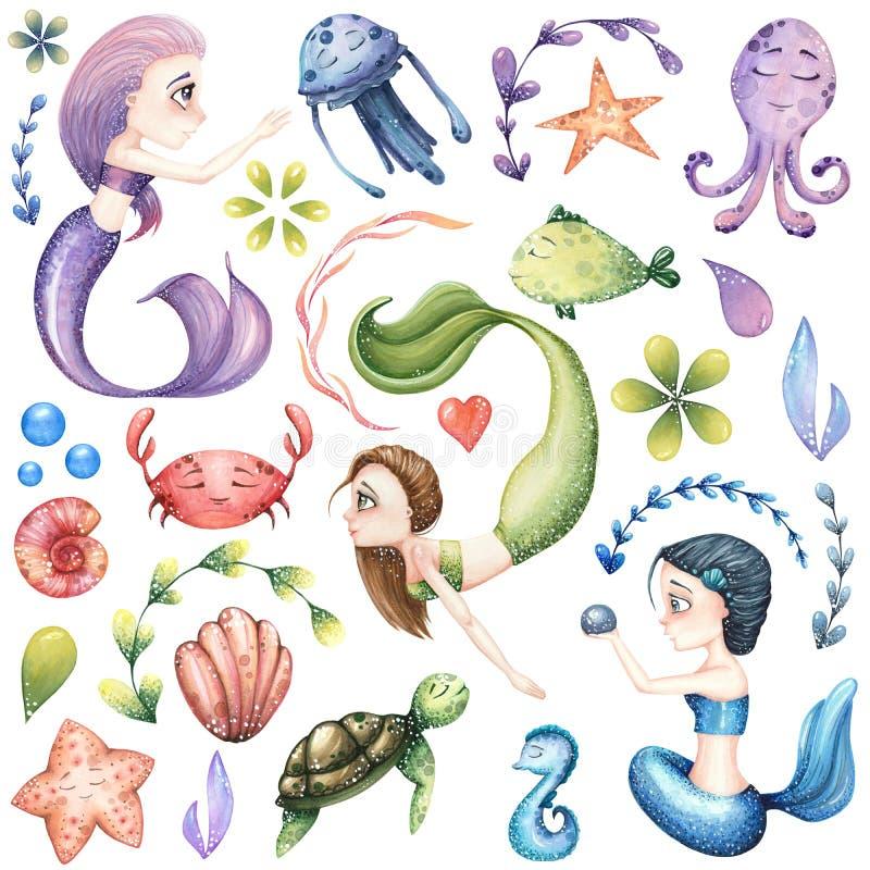 Μεγάλο σύνολο θαλασσίων απεικονίσεων watercolor με τη γοργόνα διανυσματική απεικόνιση