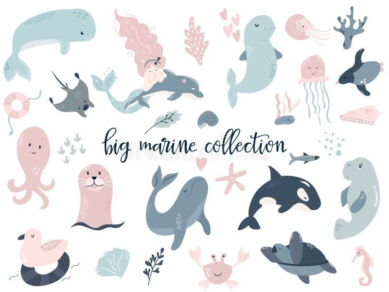 Μεγάλο σύνολο θαλασσίων ζώων Τελειοποιήστε για τις τυπωμένες ύλες μωρών ελεύθερη απεικόνιση δικαιώματος